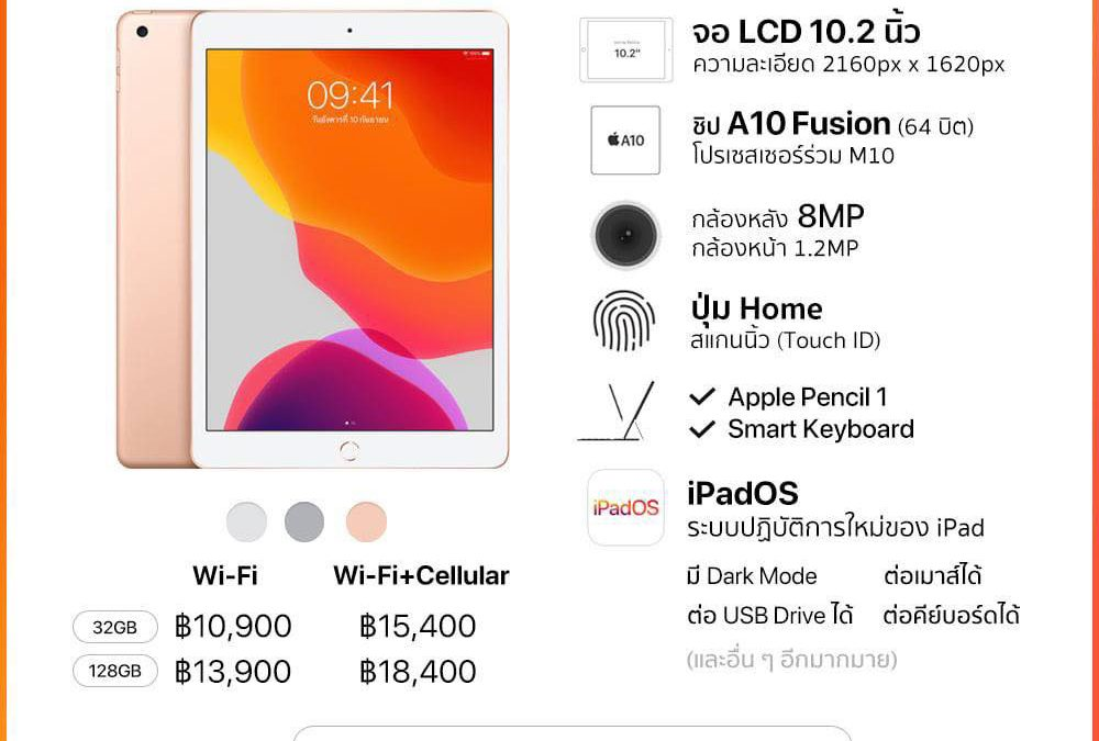 Apple วางขาย iPad จอ 10.2 นิ้ว (รุ่นที่ 7) รุ่น Wi-Fi ที่ Apple Iconsiam แล้ว